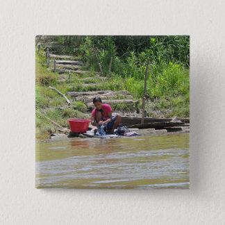 Badge Carré 5 Cm Jour de blanchisserie sur la rivière