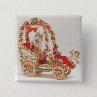 Badge Carré 5 Cm Jour de Valentines victorien vintage, voiture avec
