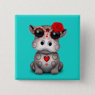 Badge Carré 5 Cm Jour rouge de l'hippopotame mort de bébé