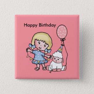 Badge Carré 5 Cm Joyeux anniversaire