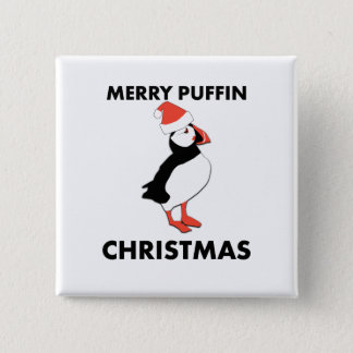 Badge Carré 5 Cm Joyeux bouton de Noël de macareux