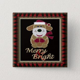 Badge Carré 5 Cm Joyeux et lumineux chienchien de Père Noël de Noël