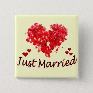 """Badge Carré 5 Cm """"Juste"""" bouton floral marié de coeur"""