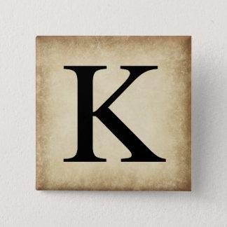 Badge Carré 5 Cm Kappa de lettre d'alphabet grec