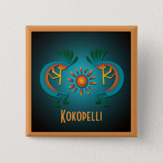 Badge Carré 5 Cm Kokopelli avec le bouton de coutume de Sun