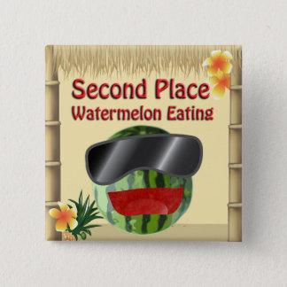 Badge Carré 5 Cm La 2ème pastèque d'endroit de partie de hutte
