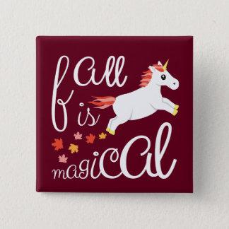 Badge Carré 5 Cm La chute est rose de licorne coloré par automne