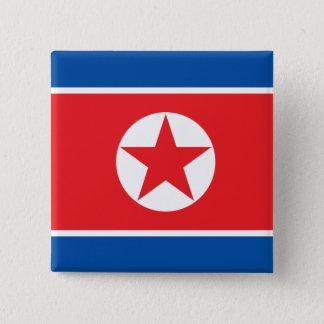 Badge Carré 5 Cm la Corée du nord