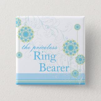Badge Carré 5 Cm La fleur de neige tourbillonne bouton bleu de