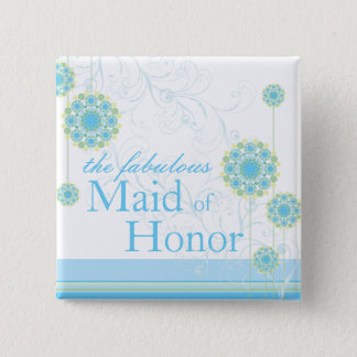 Badge Carré 5 Cm La fleur de neige tourbillonne domestique bleue de