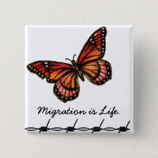 Badge Carré 5 Cm La migration est la vie avec le papillon et le