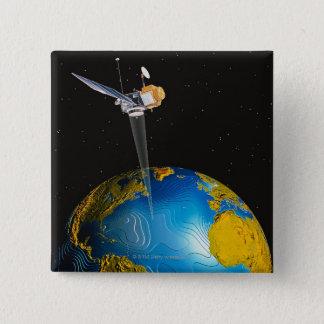 Badge Carré 5 Cm La terre orbitale satellite 6