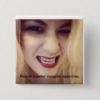 Badge Carré 5 Cm Label blond de vampire de hippie