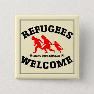 Badge Carré 5 Cm L'accueil de réfugiés amènent vos familles