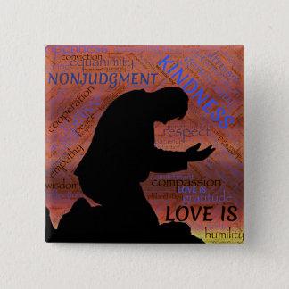 Badge Carré 5 Cm L'amour est… Gentillesse, humilité… Aimant