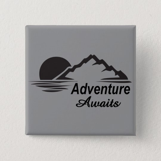 Badge Carré 5 Cm L'aventure attend la nature grande dehors