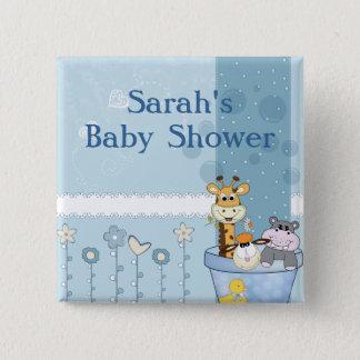 Badge Carré 5 Cm Le bleu layette pointille le baby shower de fleurs