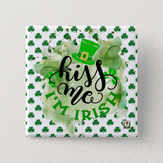 Badge Carré 5 Cm Le bouton 53086B6 de St Patrick du plaisir de