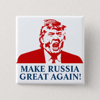 """Badge Carré 5 Cm Le bouton de Donald Trump """"FONT la RUSSIE GRETA"""