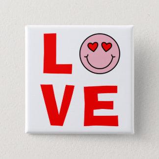 Badge Carré 5 Cm Le coeur de Valentine observe l'amour d'Emoji