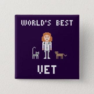 Badge Carré 5 Cm Le meilleur bouton femelle de vétérinaire de pixel