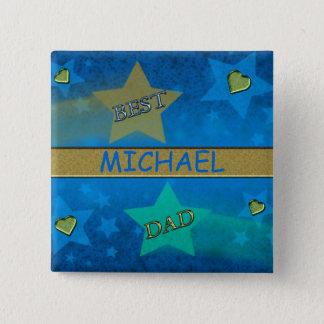 Badge Carré 5 Cm Le meilleur papa d'étoile filante