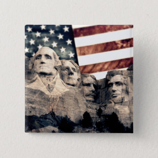 Badge Carré 5 Cm Le mont Rushmore patriotique