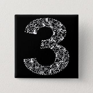 Badge Carré 5 Cm Le numéro trois