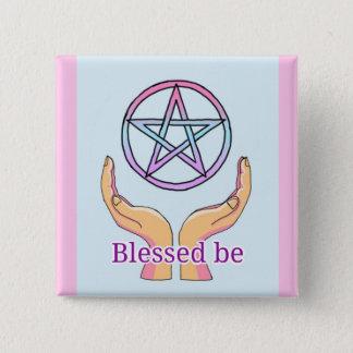 """Badge Carré 5 Cm Le pentagramme en pastel """"Blessed soit"""" pentagone"""