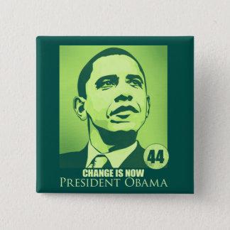 Badge Carré 5 Cm Le Président Obama, changement est maintenant