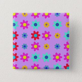 Badge Carré 5 Cm Le ressort fleurit des couleurs vives