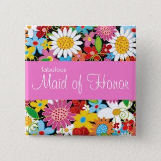Badge Carré 5 Cm Le ressort fleurit épousant la domestique chic de