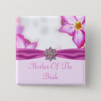 Badge Carré 5 Cm Le ressort rose fleurit le mariage d'aquarelle