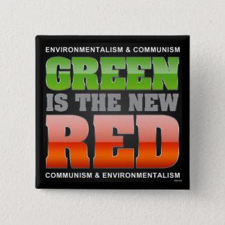 Badge Carré 5 Cm Le vert est le nouveau rouge