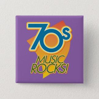 Badge Carré 5 Cm les années 70 roches de musique !