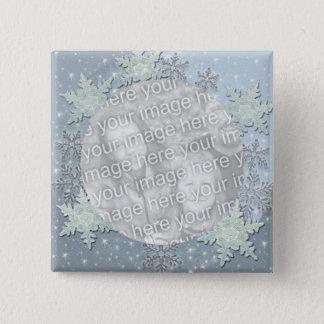 Badge Carré 5 Cm Les flocons de neige à la frontière de glace