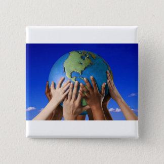 Badge Carré 5 Cm Les problèmes environnementaux sauvent le monde
