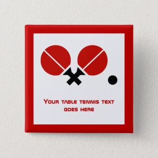 Badge Carré 5 Cm Les raquettes et la boule de ping-pong de