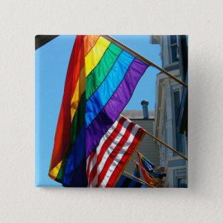 Badge Carré 5 Cm LGBT et bouton américain de drapeaux d'arc-en-ciel