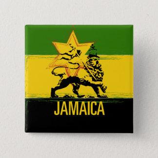 Badge Carré 5 Cm Lion jamaïcain de bouton de Judah