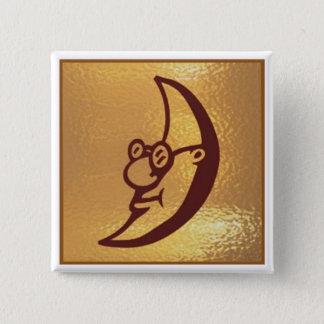 Badge Carré 5 Cm Lune de MoonSmile de demi-lune - base d'or d'icône