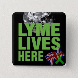 Badge Carré 5 Cm Lyme vit ici bouton BRITANNIQUE