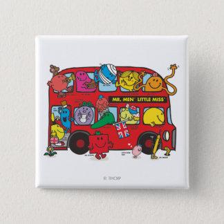 Badge Carré 5 Cm M. Men et petit Bus de Mlle Crowded