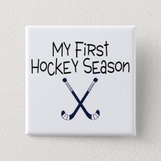 Badge Carré 5 Cm Ma première saison du football (bâtons de hockey)