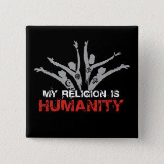 Badge Carré 5 Cm Ma religion est humanité