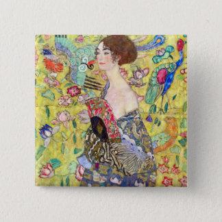 Badge Carré 5 Cm Madame avec la fan par Gustav Klimt