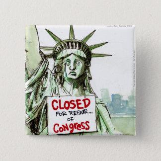 Badge Carré 5 Cm Madame Liberty Closed For Repair du congrès drôle
