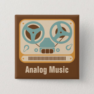 Badge Carré 5 Cm Magnétophone bobine à bobine de Music❞ de ❝Analog