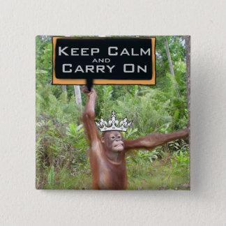 Badge Carré 5 Cm Maintenez calme et continuez le safari de jungle