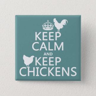 Badge Carré 5 Cm Maintenez calme et gardez les poulets (toute